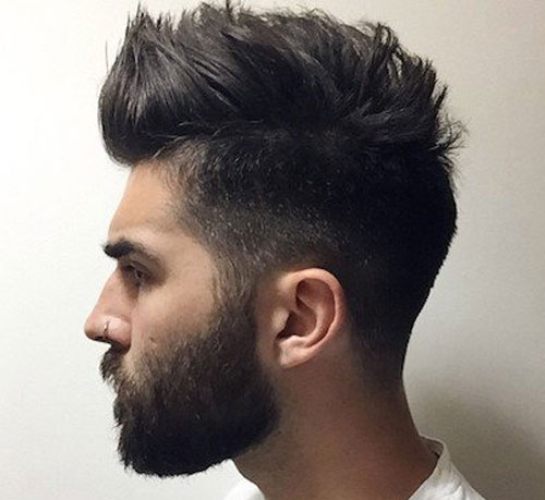 2 4 Mid Fade Thick Faux Hawk Short Full Facial Hair Styl Studio